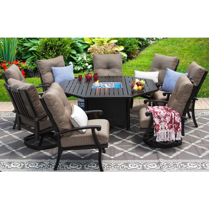 Marvelous Barbados Cushion Aluminum Outdoor Patio 9Pc Set 2 Swivel Rocker 6 Dining Chair 71 Inch Octagonal Fire Table Series 4000 Inzonedesignstudio Interior Chair Design Inzonedesignstudiocom
