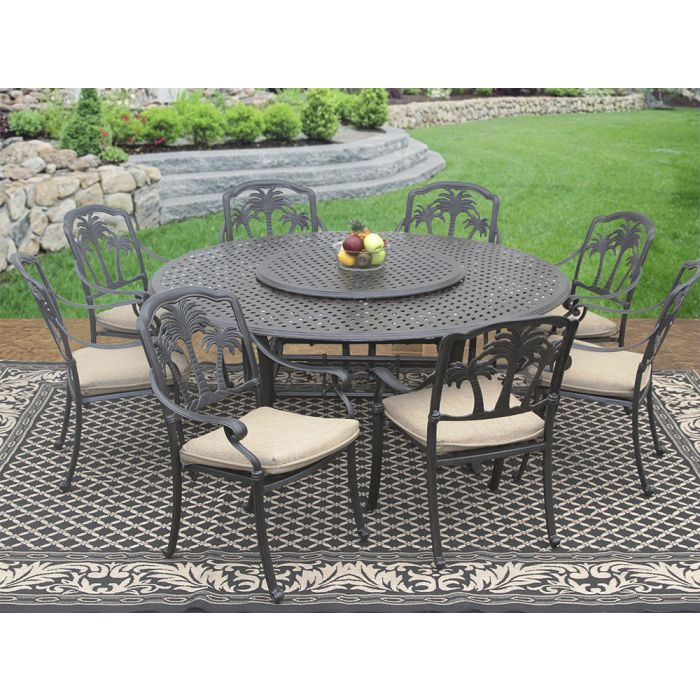Palm Tree Cast Aluminum Outdoor Patio, Round Outdoor Dining Table With Lazy Susan
